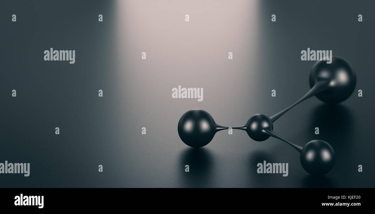 3D-Darstellung eines Netzwerk Symbol auf schwarzem Hintergrund mit Lichteffekt. Verbindung Konzept. Stockbild