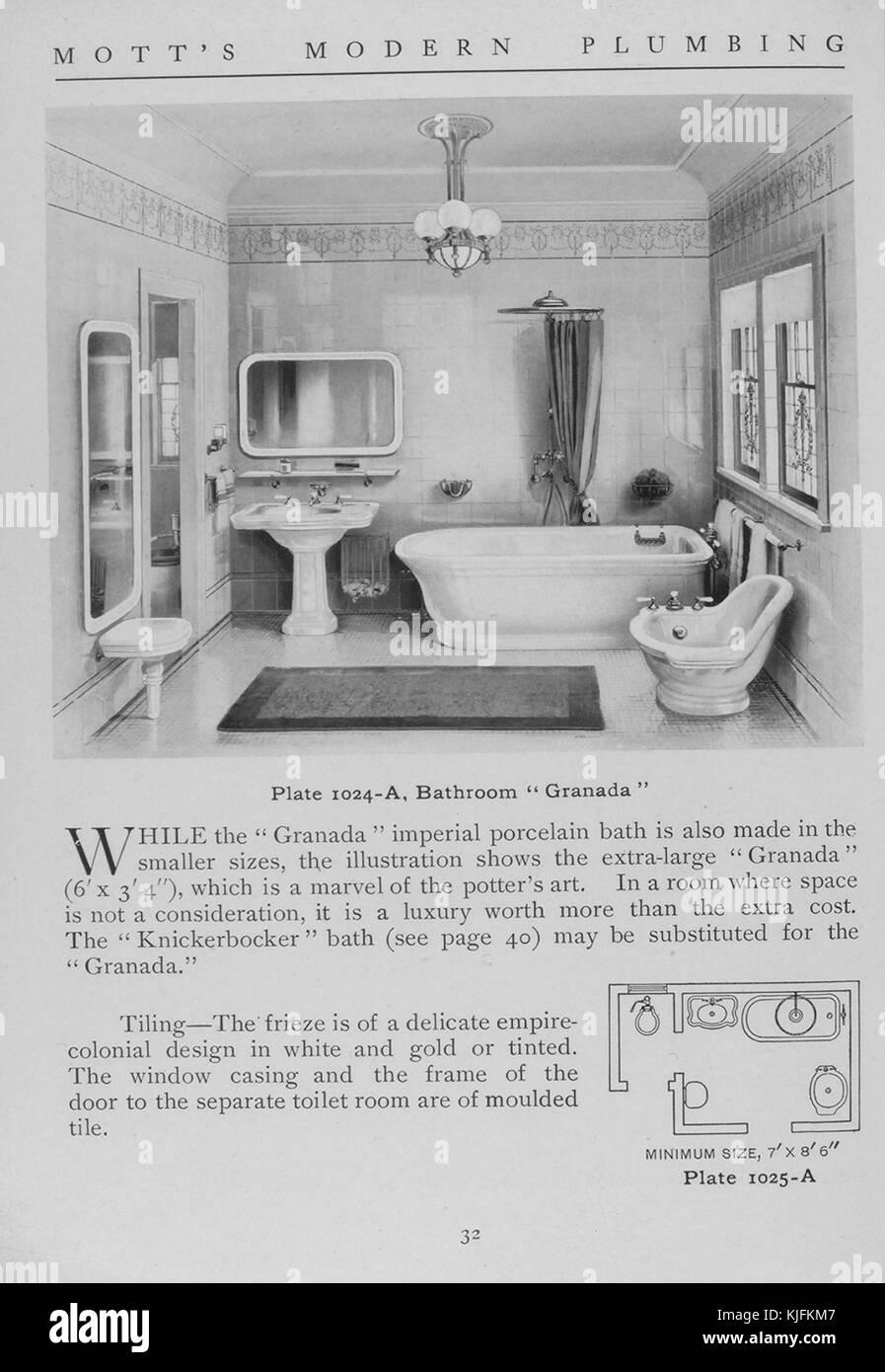Badezimmer, Granada, 1911. Von der New York Public Library. Diese ...