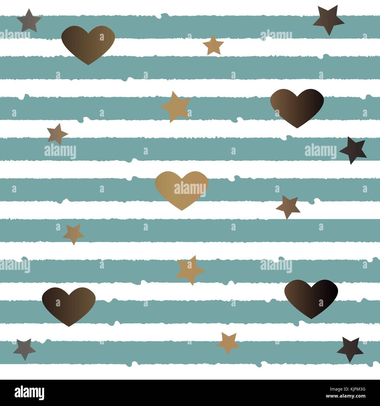 se muster mit goldenen sternen herzen und teal streifen toll fr wand kunst design geschenk papier verpackung textil textil etc - Muster Fur Wand
