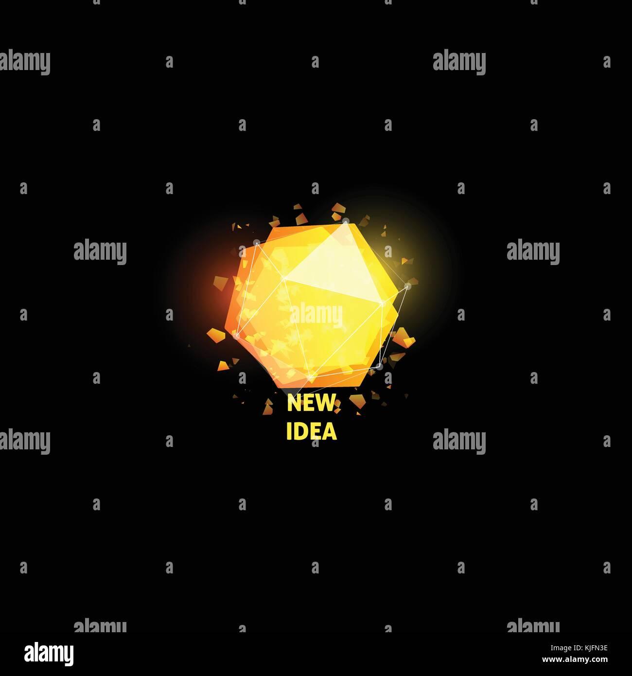 Neue Idee Logo, Glühbirne abstrakt Vektor icon. Isolierte gelbe ...