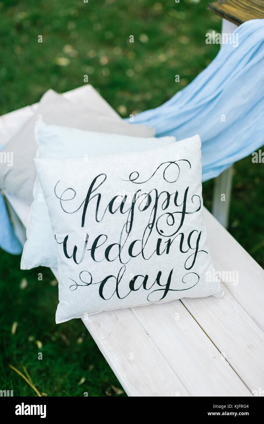 Veranstaltung Hochzeit Dekoration Auf Der Gartenbank Gibt Es