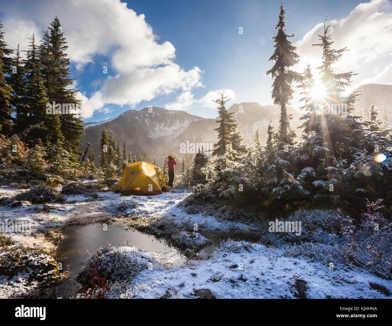 Ein frostiger Morgen, Pemberton, British Columbia. Stockbild