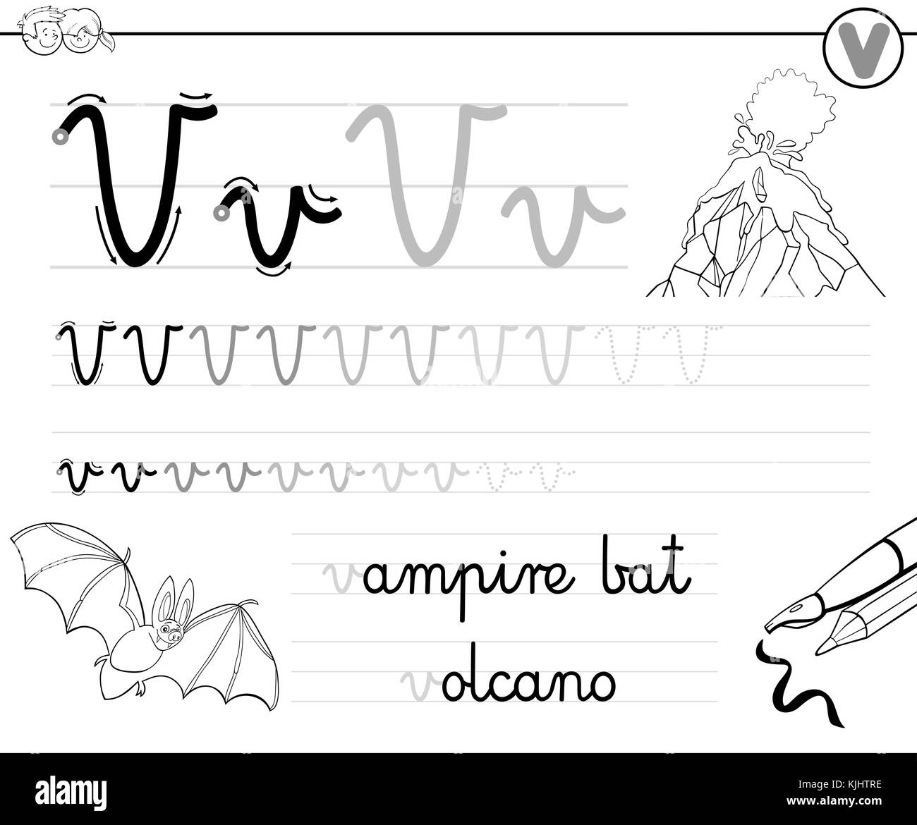 Schwarze und weiße Cartoon Illustration der Schreiben Fähigkeiten ...