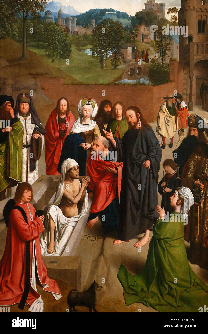 Louvre Museum. Die Auferweckung des Lazarus. Geertgen Tot Sint Jans oder Gerard de Saint Jean, C. 1480. Frankreich. Stockfoto
