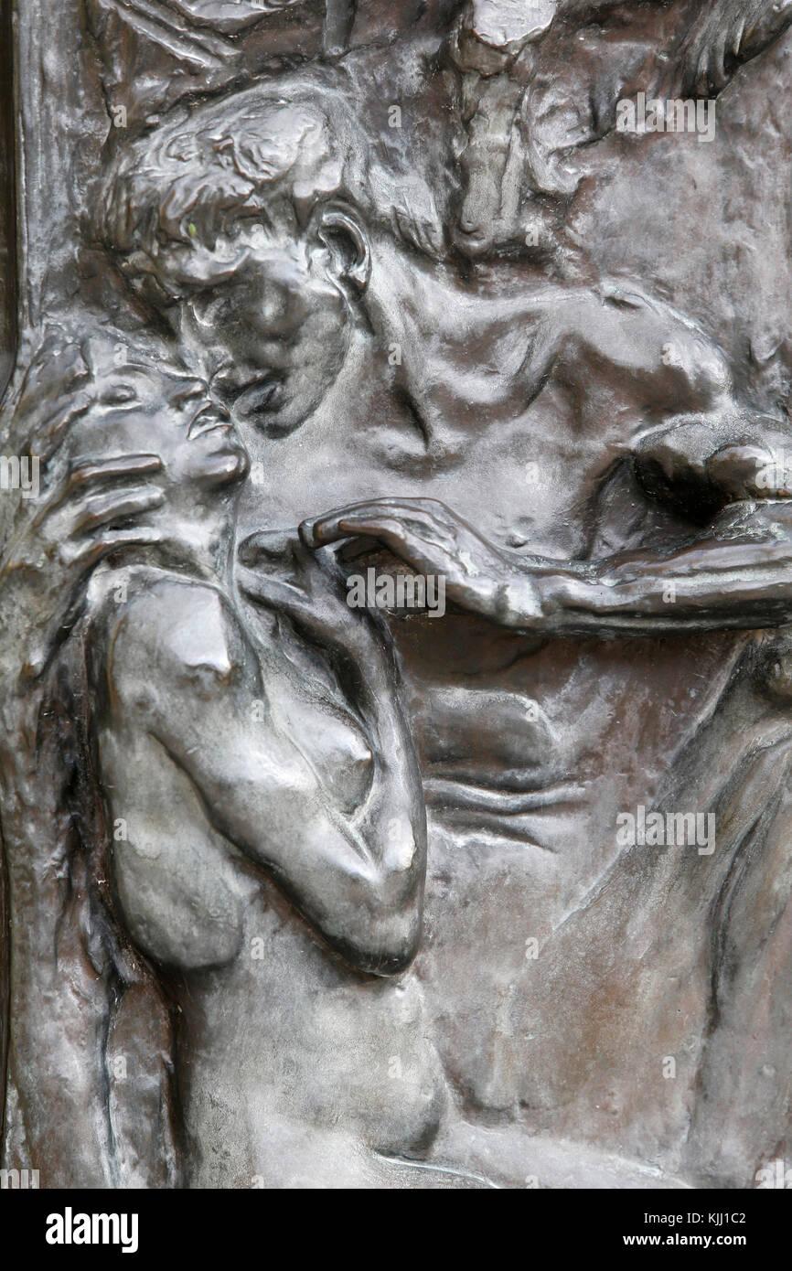 Das Rodin Museum, Paris. Die Pforten der Hölle. Ungefähr 1890. Detail. Frankreich. Stockbild