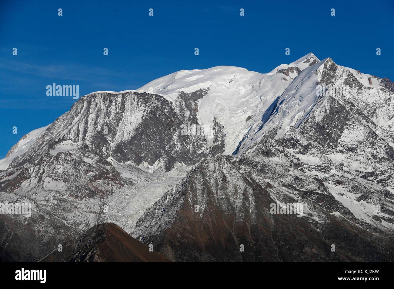 Die französischen Alpen. Mont-Blanc Massiv. Frankreich. Stockbild