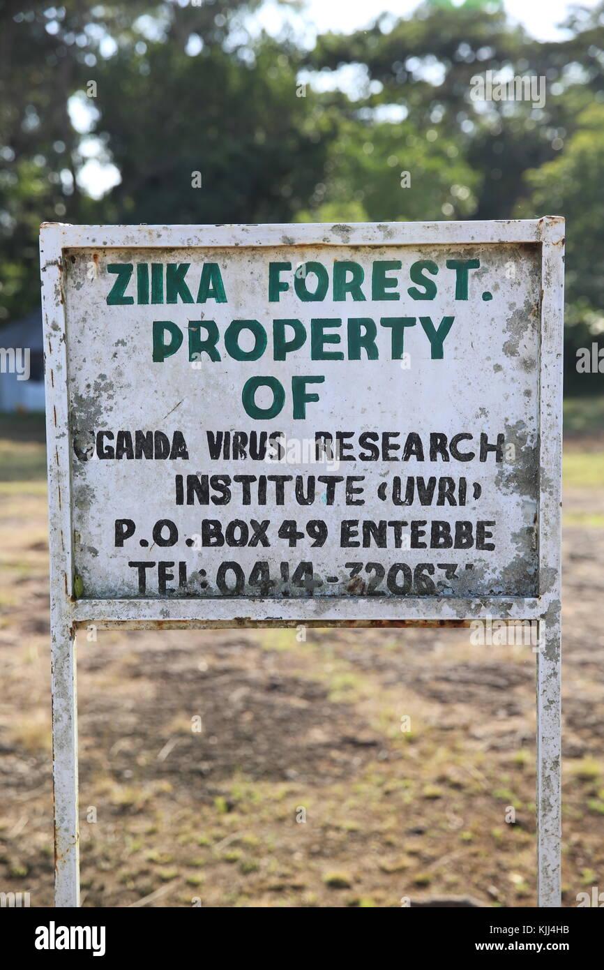 Uganda Virus Research Institut anmelden Zika Wald, Uganda. Uganda Stockbild