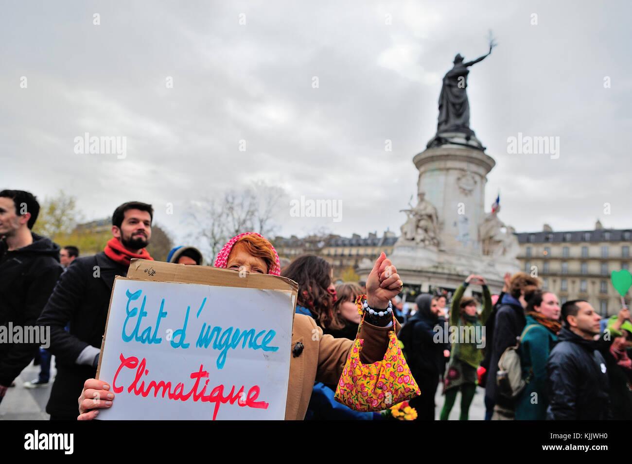 Umweltschützer Demonstration in Paris. Frankreich. Stockbild