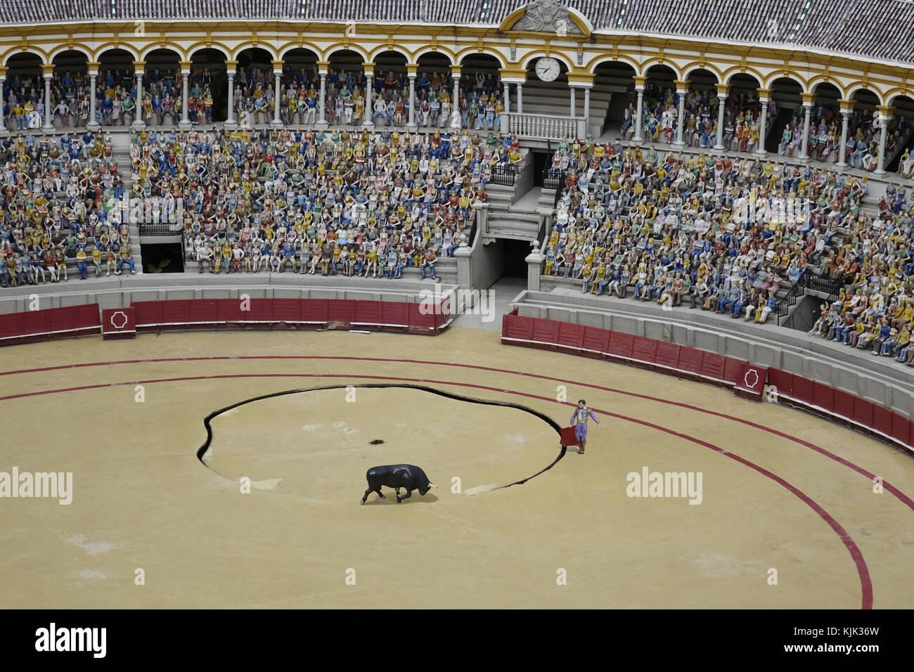 Eine Miniatur der Stierkampfarena in Sevilla, auf dem Messegelände von Mini-Europe in der belgischen Hauptstadt Stockfoto