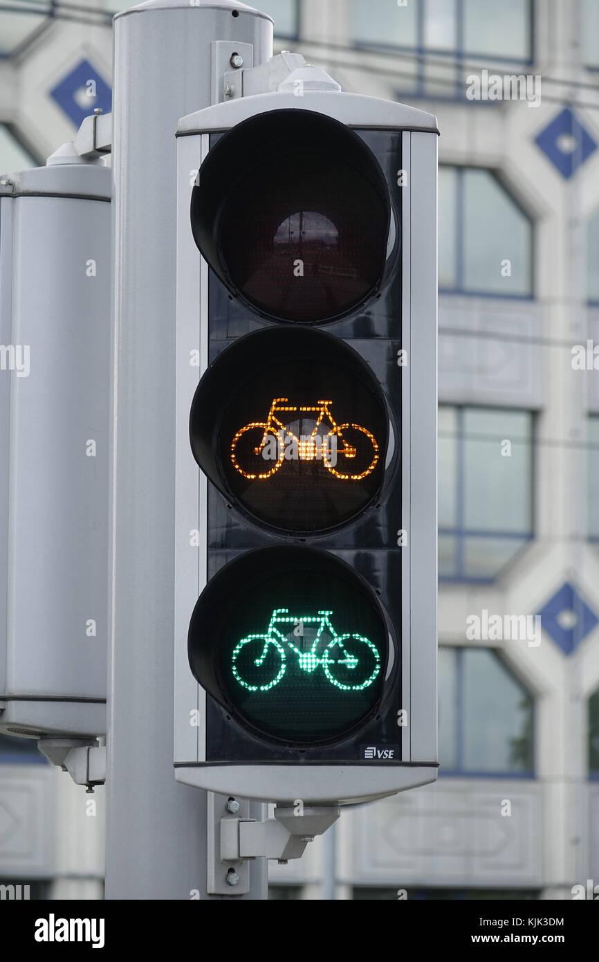 Ein Fahrrad Ampel In Der Belgischen Hauptstadt Brüssel Zeigt Die