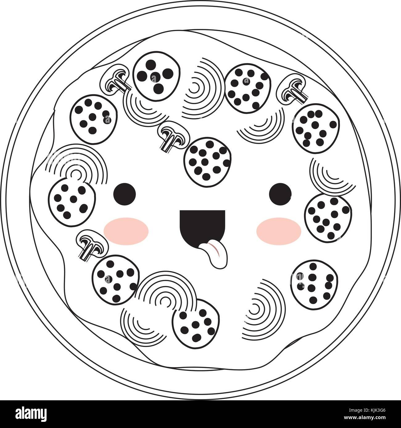 Kawaii Pizza In Schwarzweiß Silhouette Auf Weißem Hintergrund Vektor