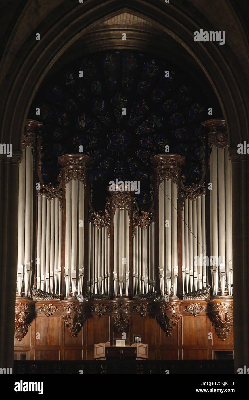 Orgel der Kathedrale Notre Dame, Paris. Frankreich. Stockbild