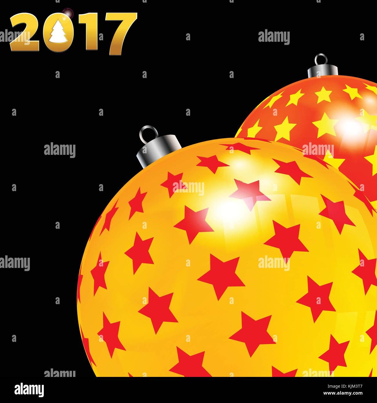 Christbaumkugeln Gelb.3d Darstellung Der Weihnachten Dekoriert Christbaumkugeln Rot Und