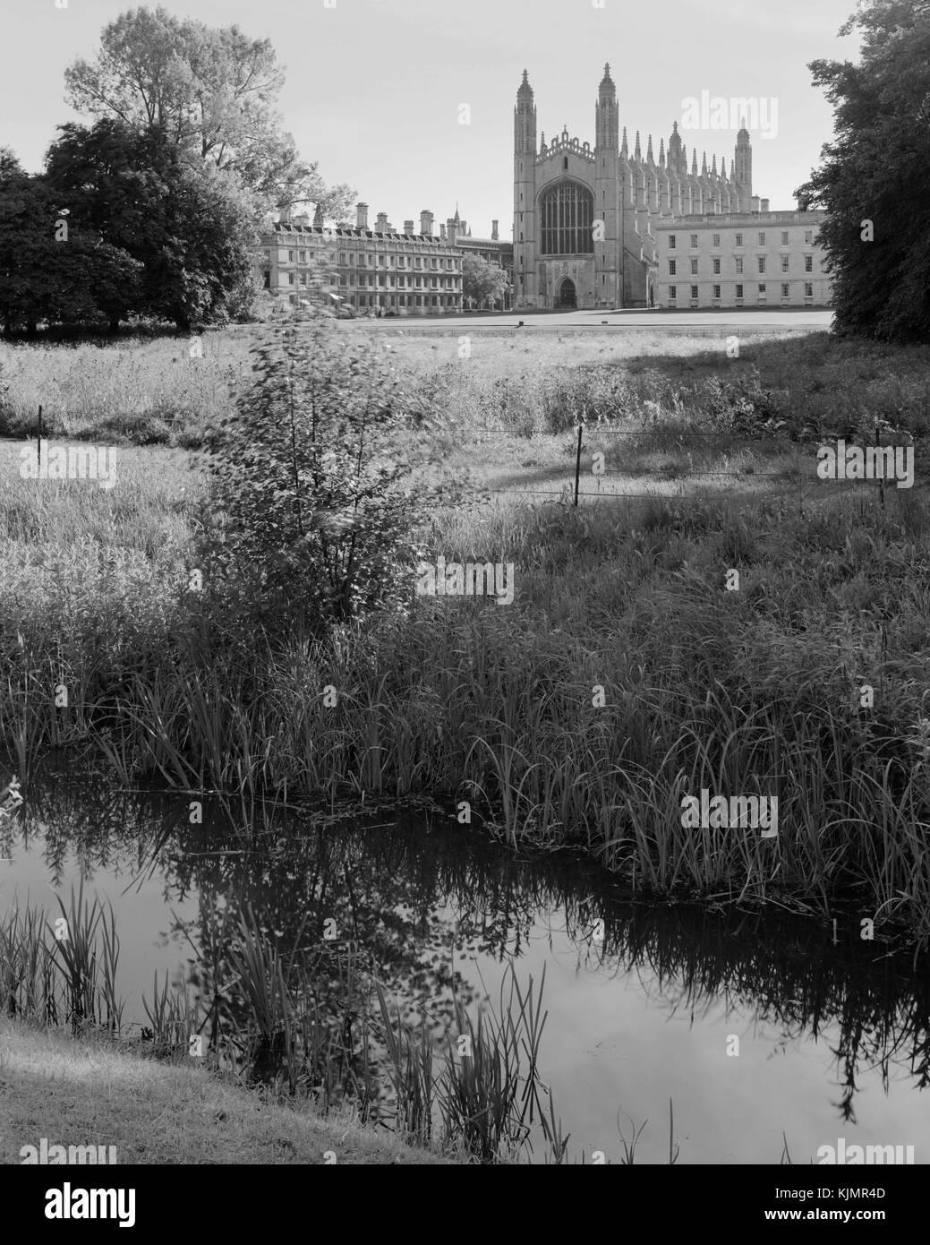 Kings College Chapel und Clare College in Cambridge von den Rücken Stockbild