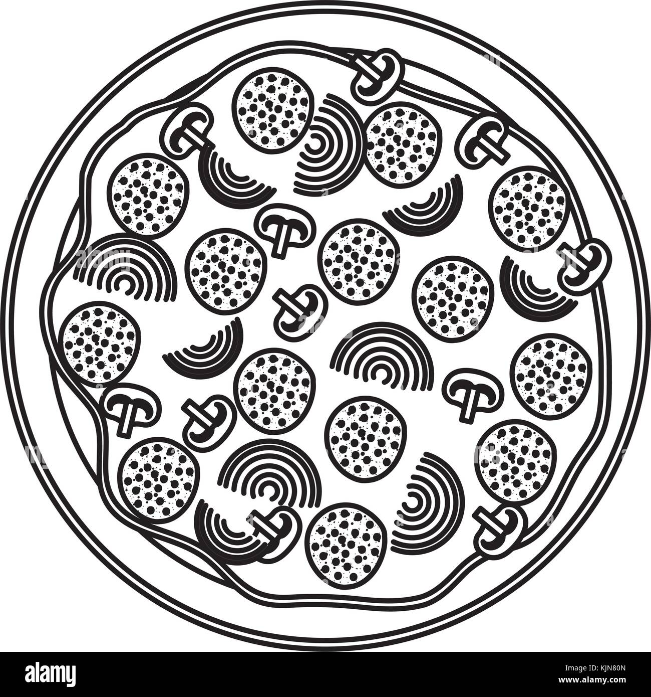 Pizza Symbol In Schwarzweiß Silhouette Auf Weißem Hintergrund Vektor