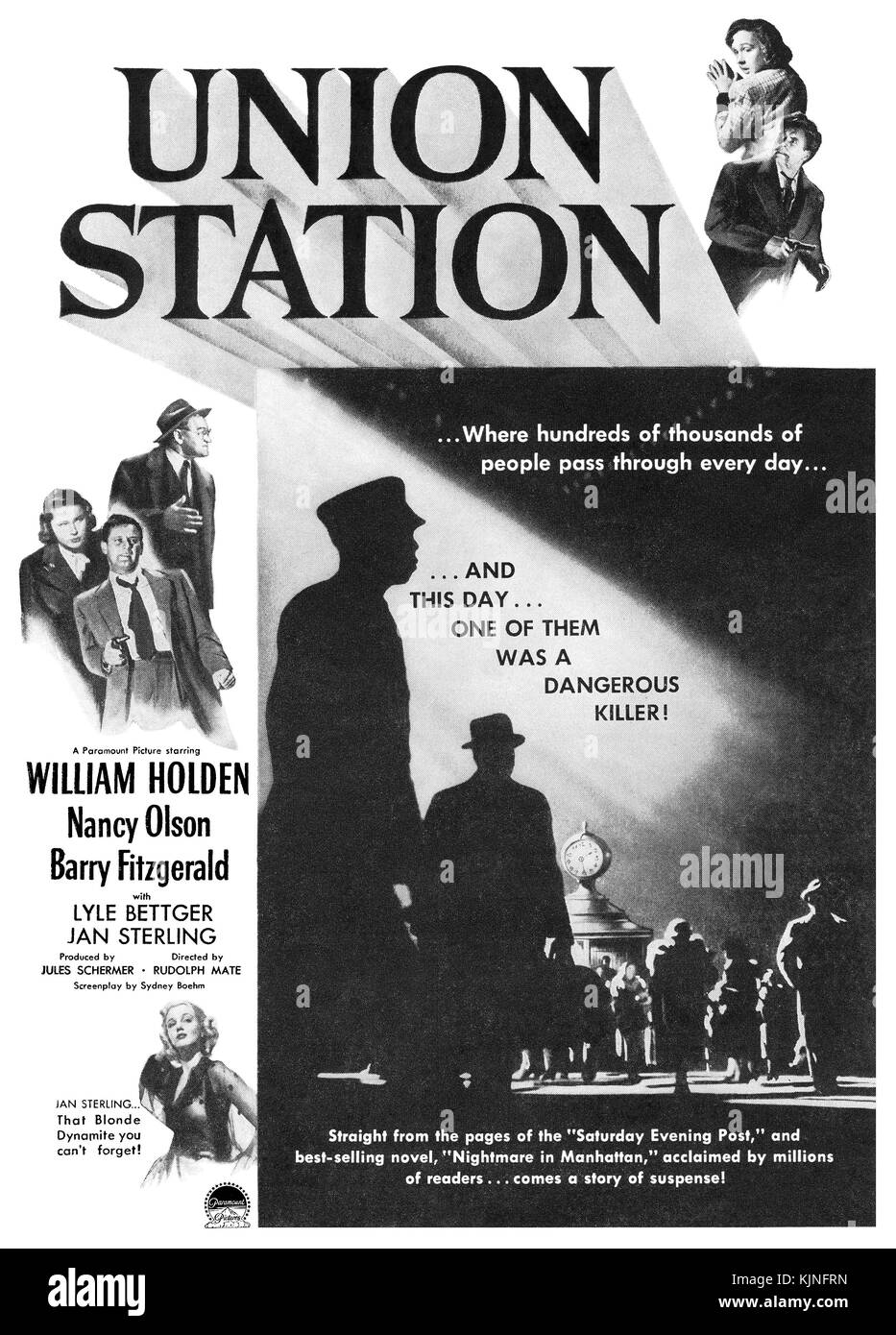 1950 US-Werbung für die Paramount Film Union Station, starring: William Holden, Nancy Olson und Barry Fitzgerald. Stockbild