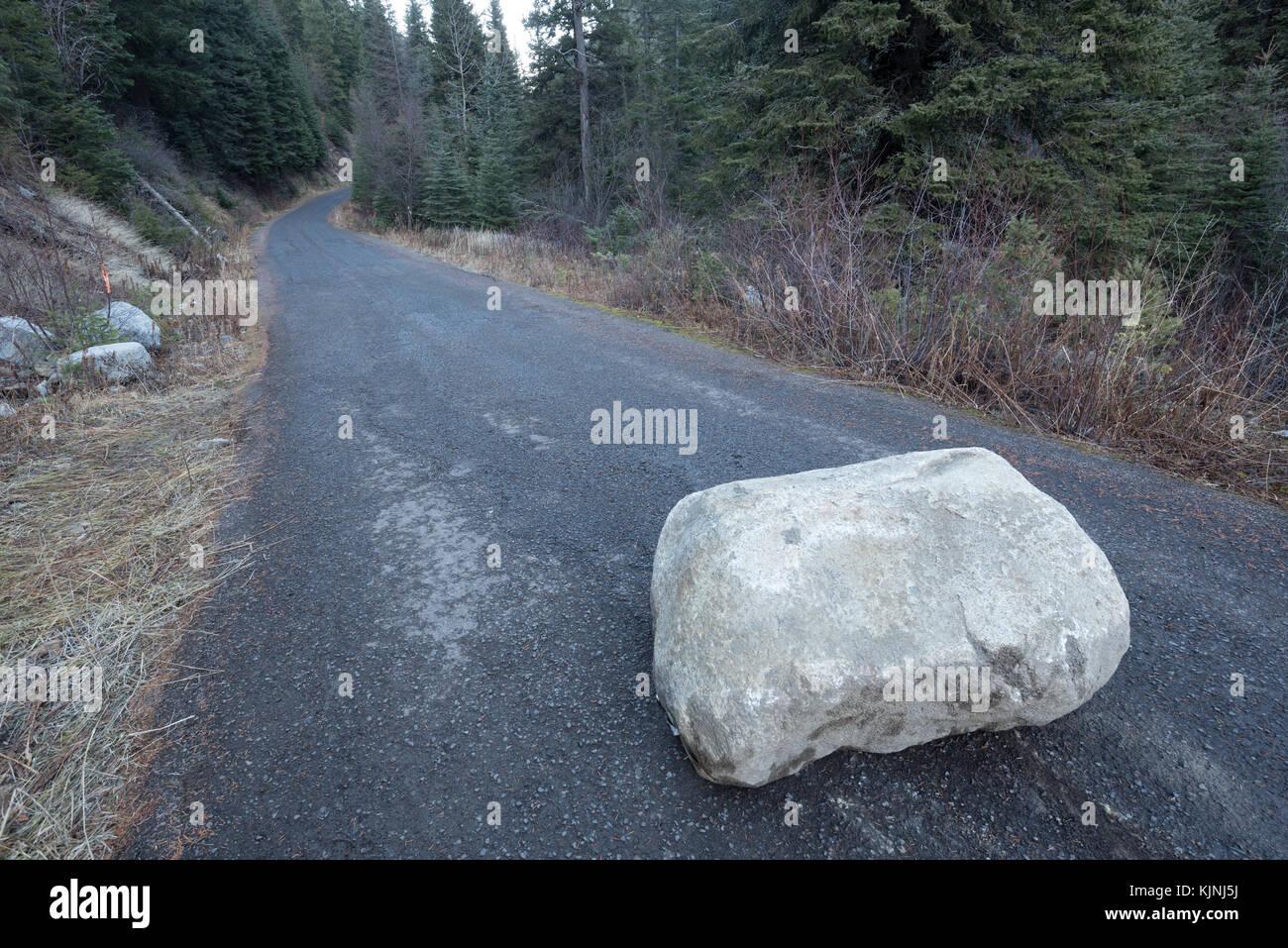 Gefallenen Boulder auf einer Straße in Wallowa - Whitman National Forest, Oregon. Stockbild