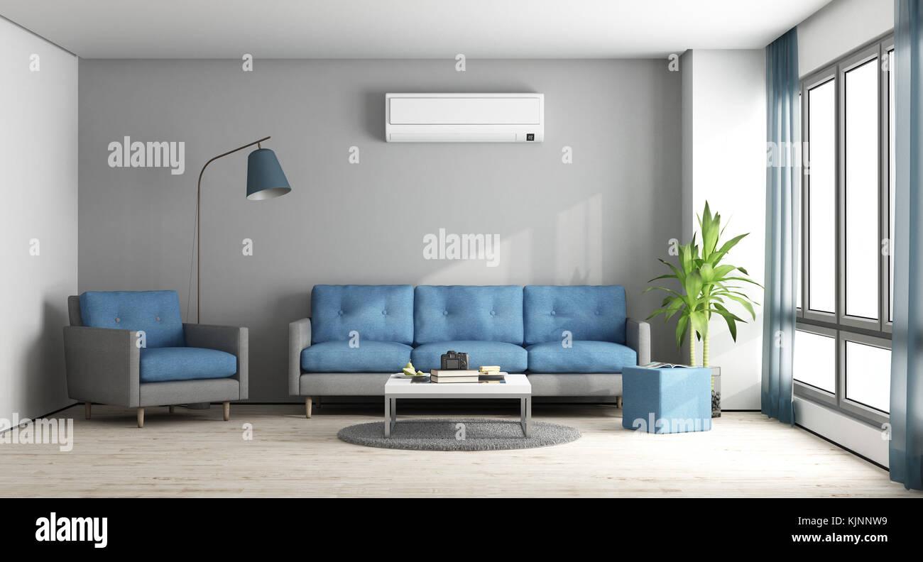 Beau Blau Und Grau Modernes Wohnzimmer Mit Sofa, Sessel Und Klimaanlage    3D Rendering