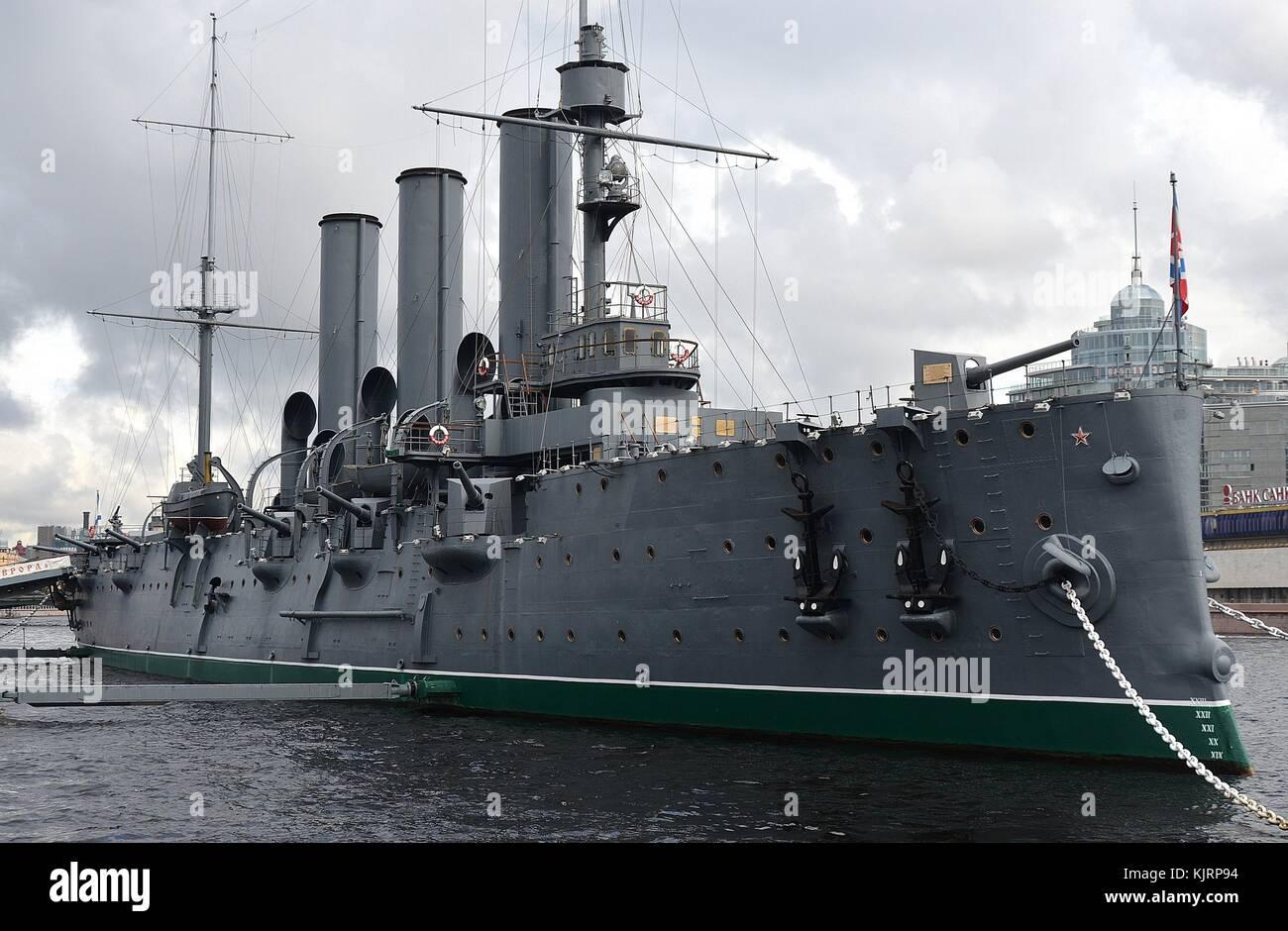 Berühmte russische Kreuzer Aurora in St. Petersburg Stockbild