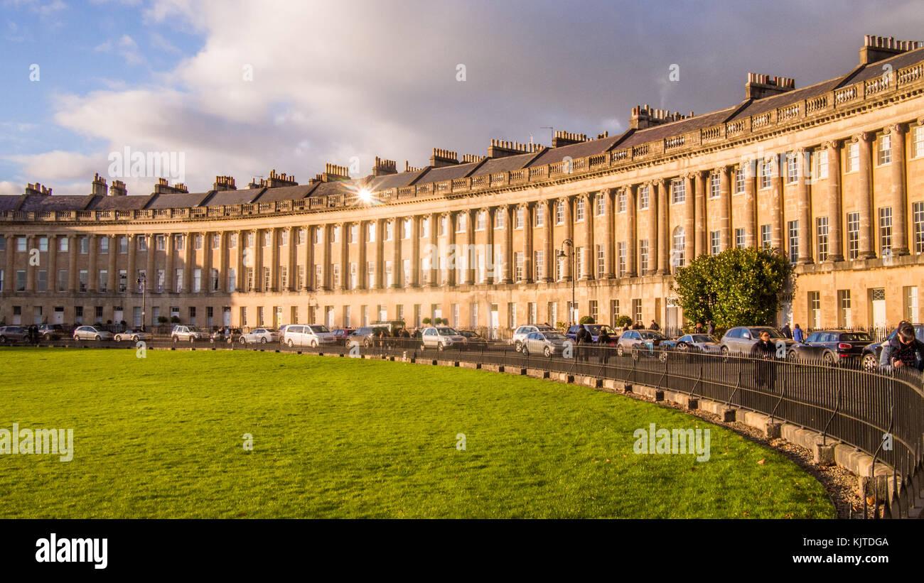 Den Royal Crescent in Bath, Somerset, England, einer Reihe von 30 Gerogian ära Reihenhäuser Stockbild
