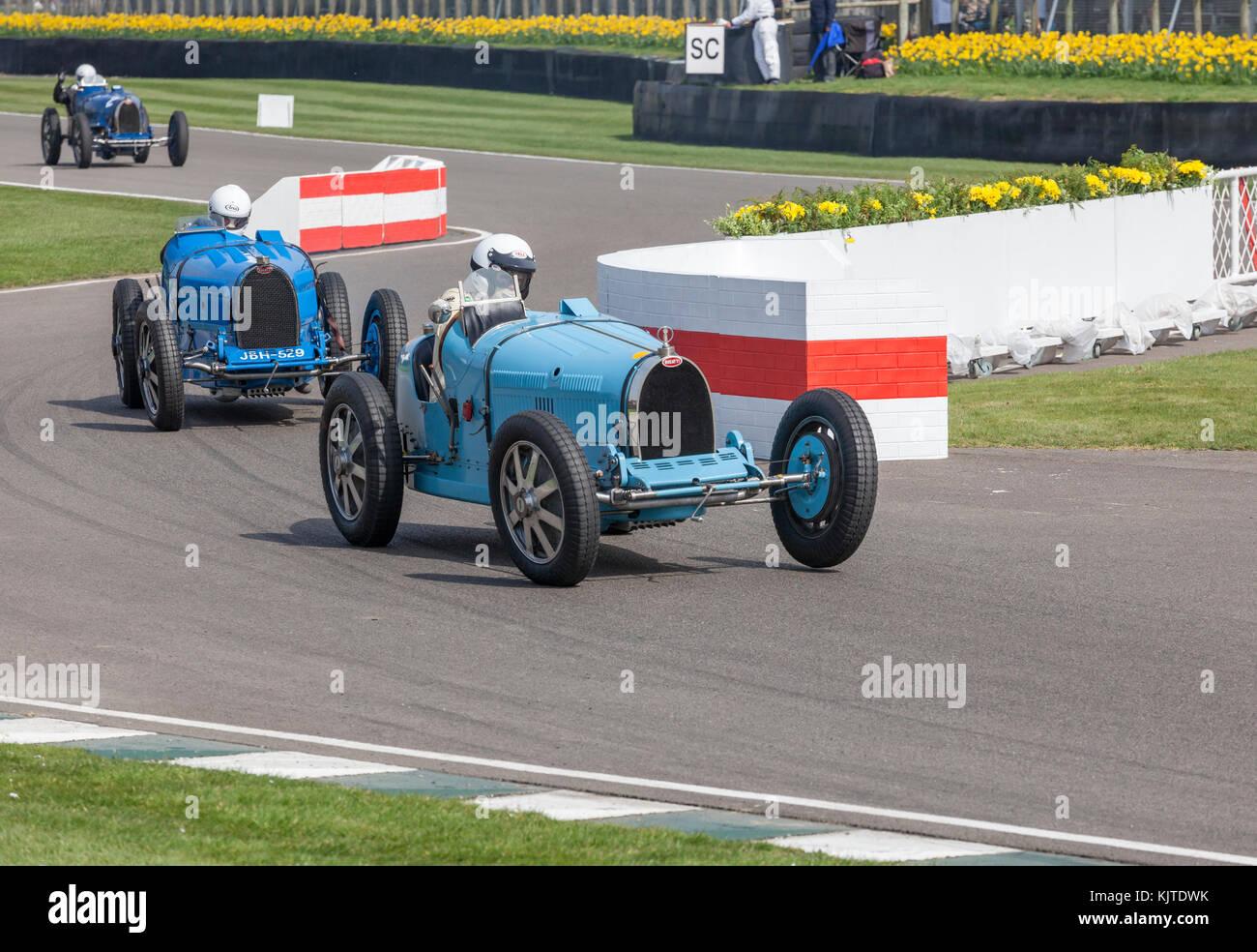 Bugatti Goodwood Revival, historischen Rennsport Stockbild