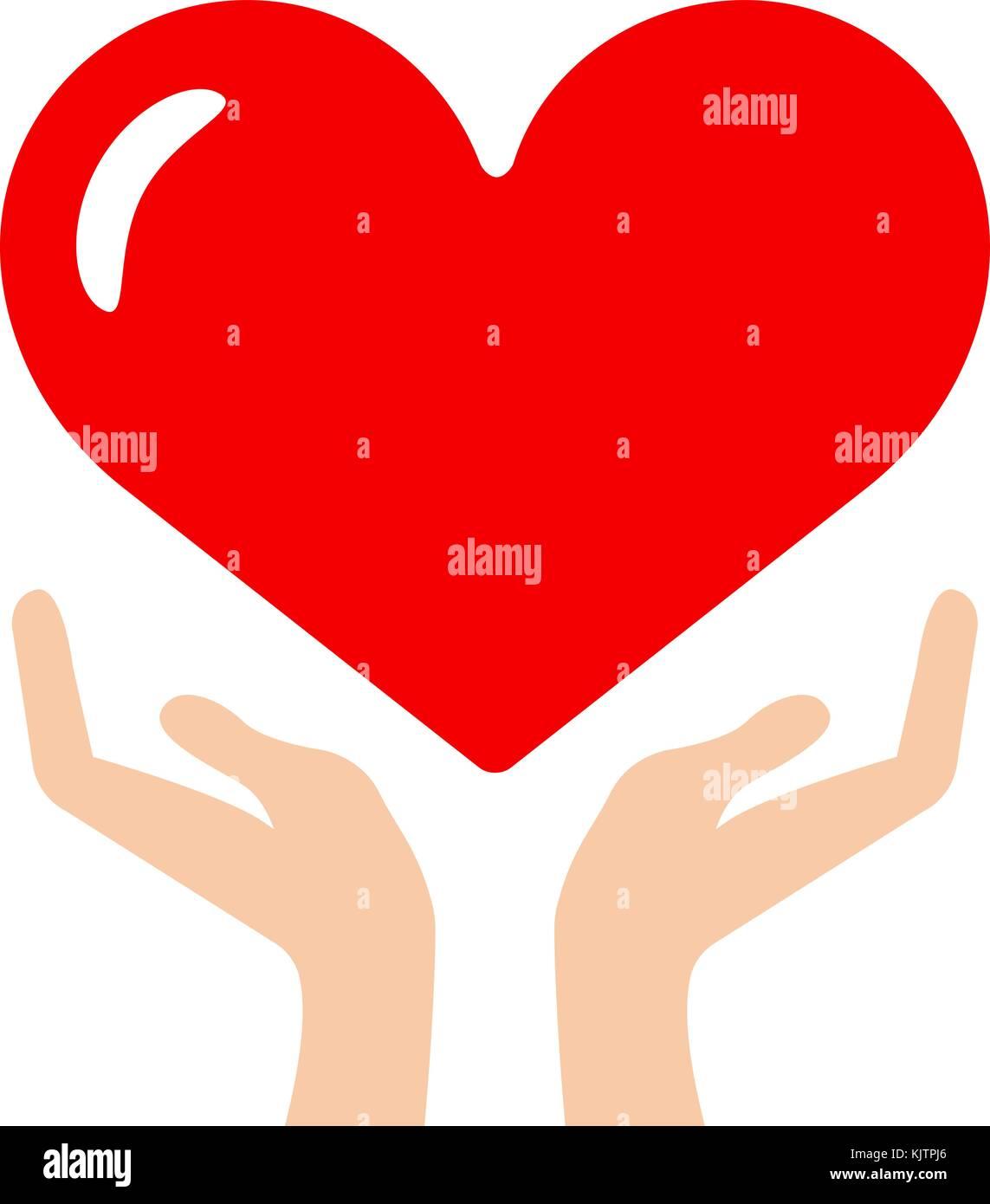 Herz in der Hand Symbol Stockbild