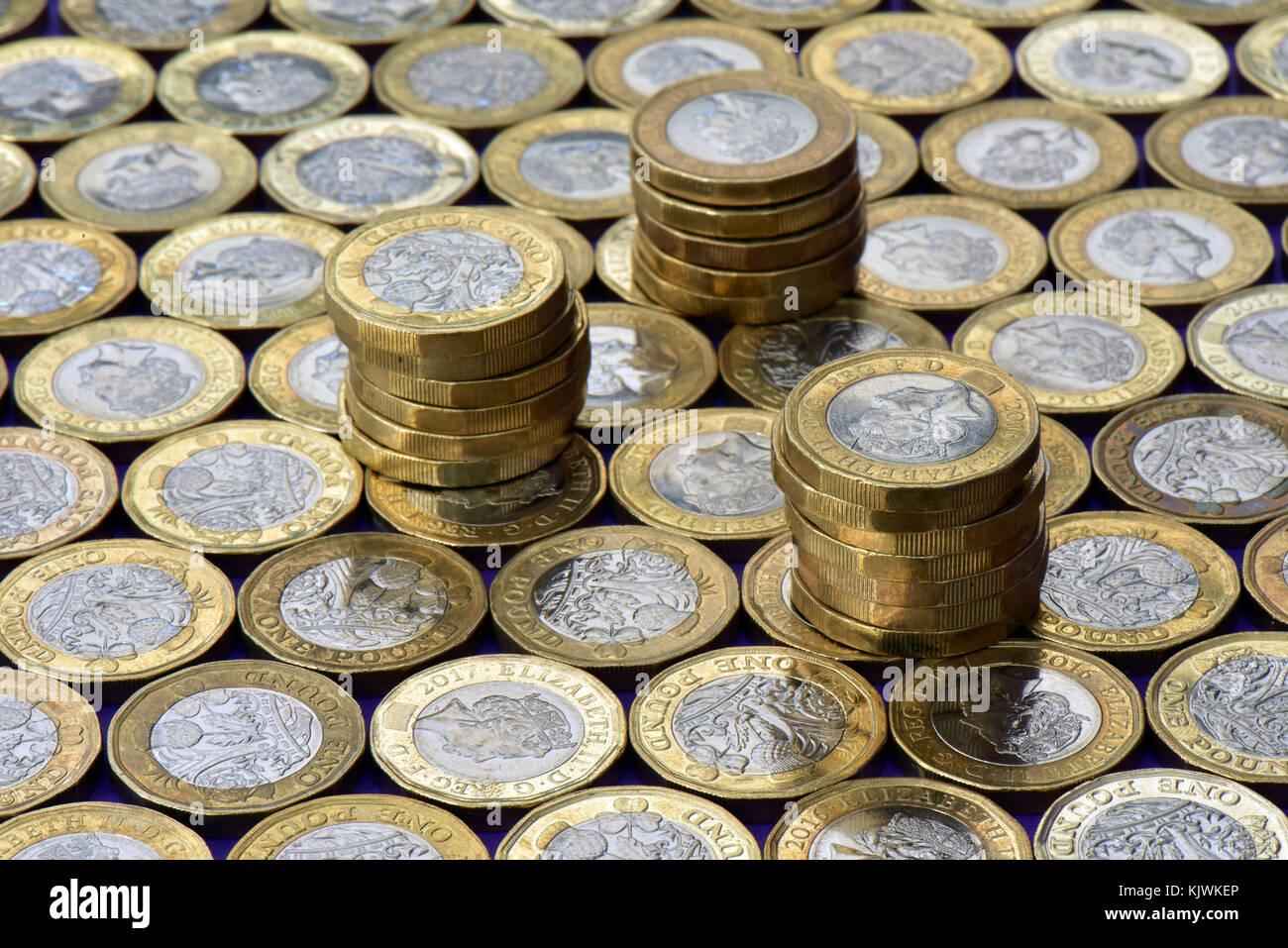 Eine Große Anzahl Oder Menge Ein Pfund Gold Und Silber Münzen Flach