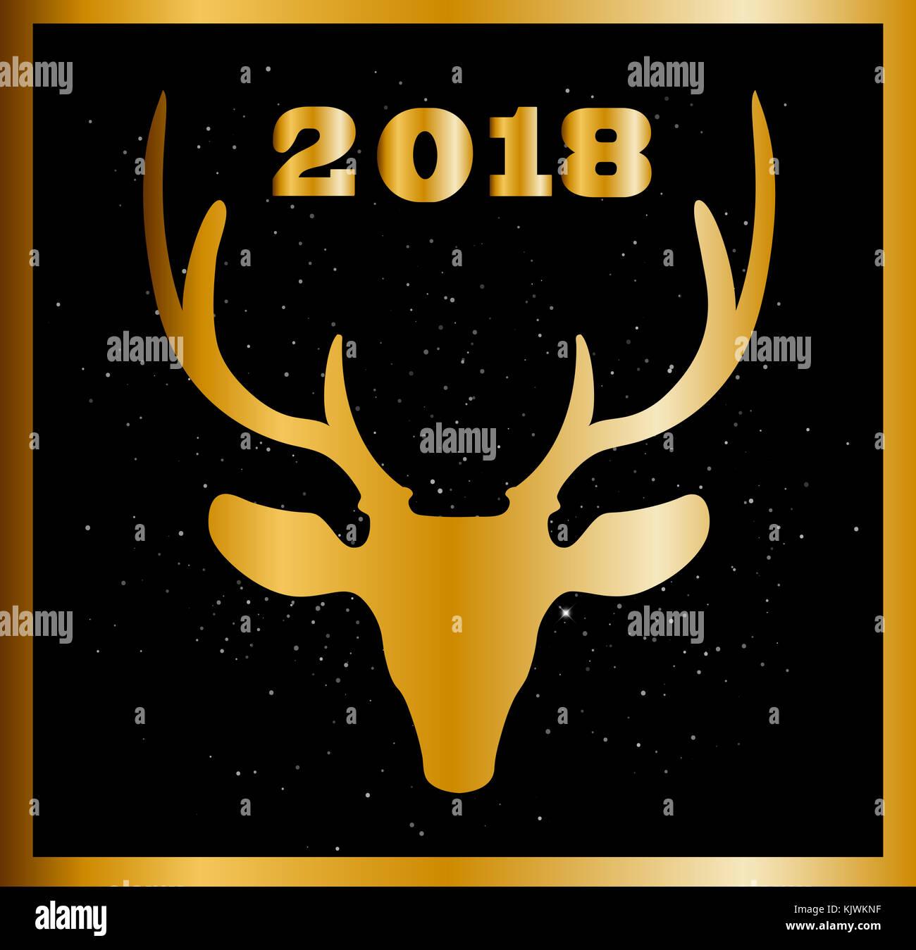 Elegante Weihnachten oder Neujahr Karte mit goldenen raindeer Kopf ...