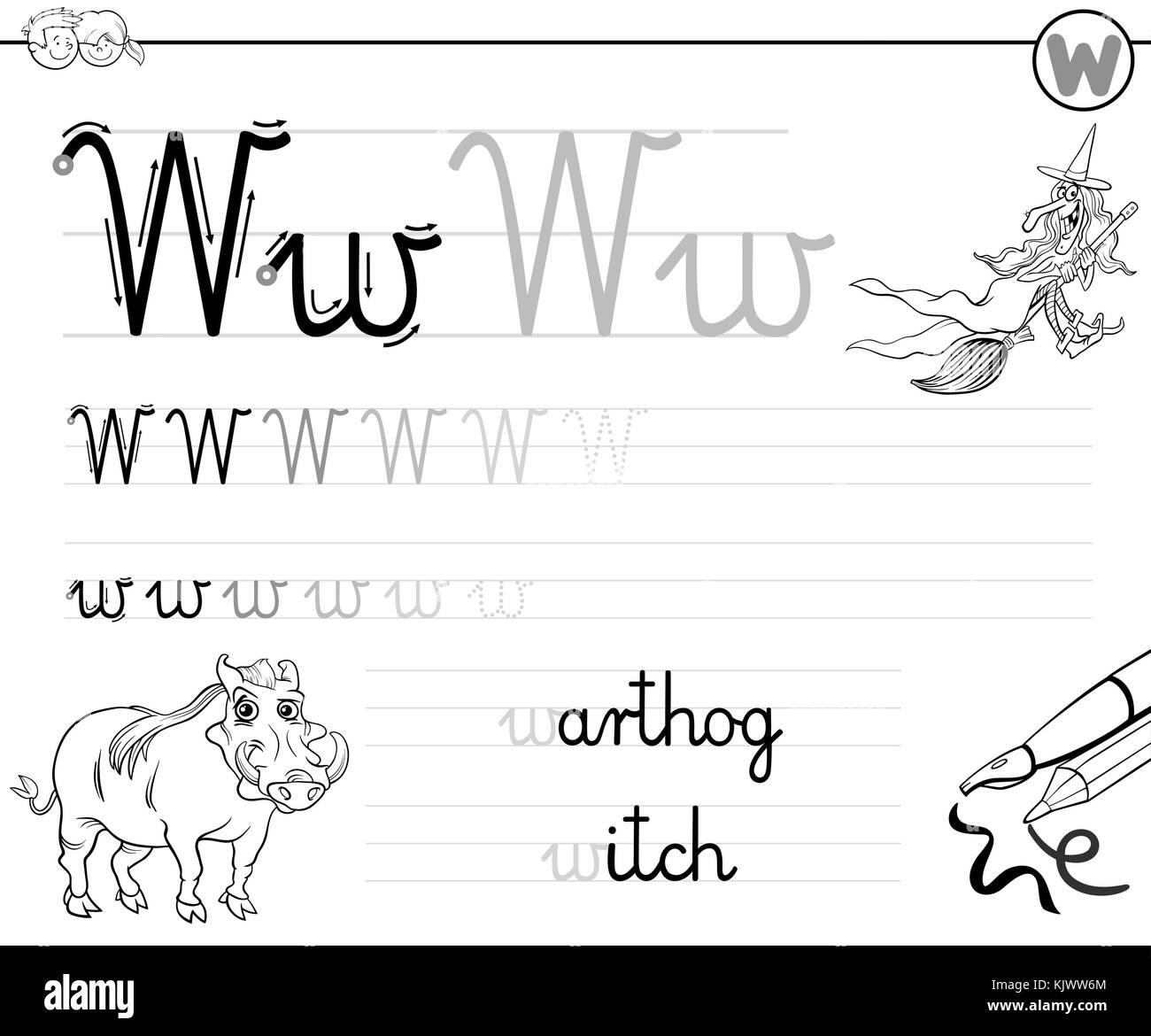 Black White Cartoon Illustration Elementary Stockfotos & Black White ...