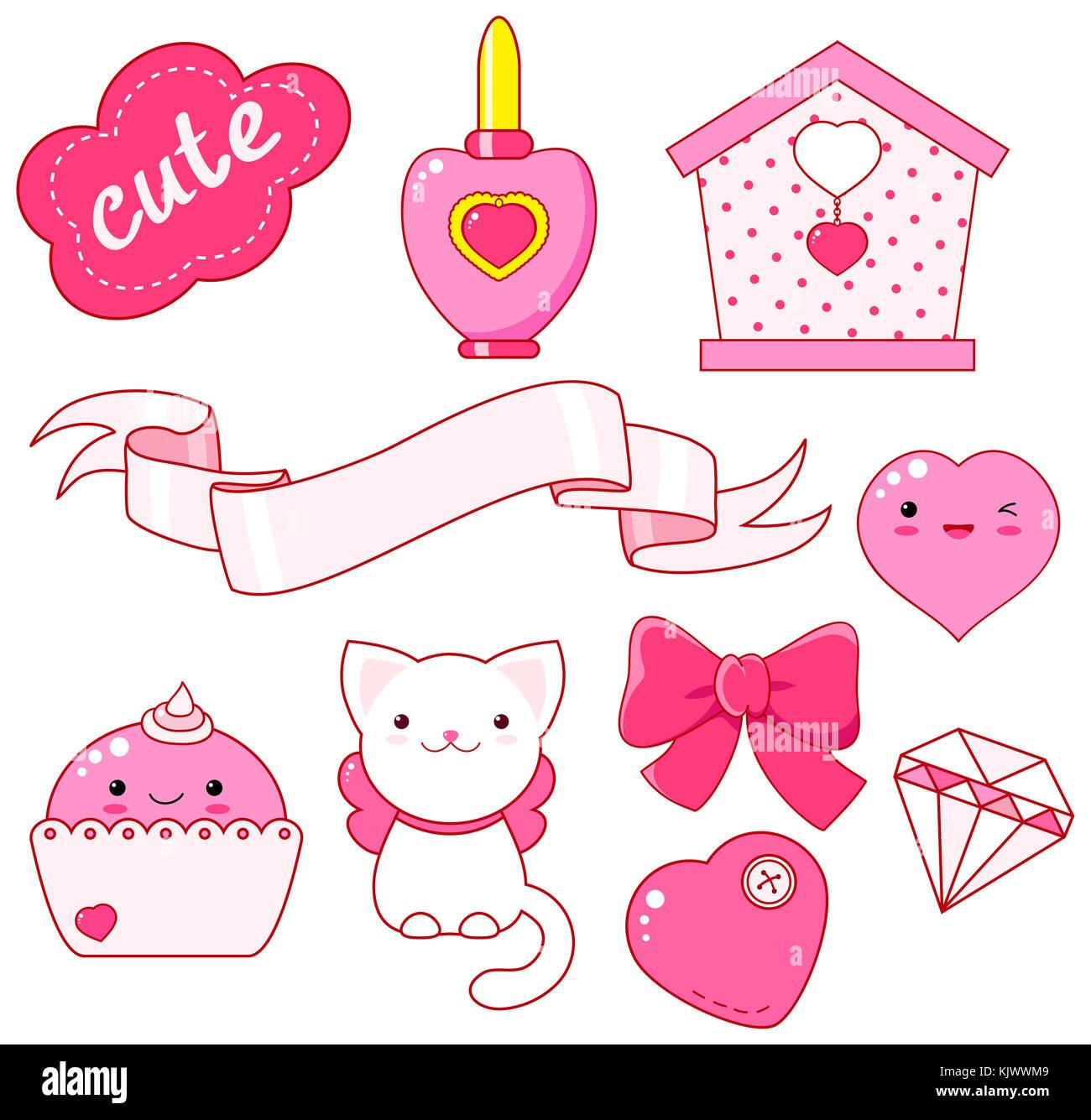 Cute little Princess Sticker Set-Cat, Herz, Nagellack, cupcake, Bug ...