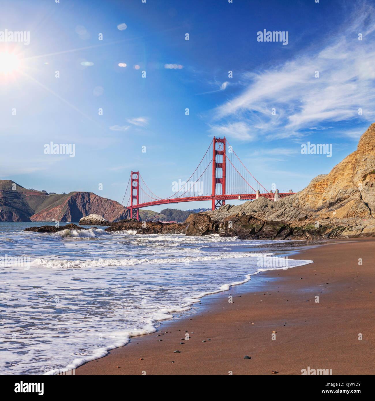 Sun flare über die Golden Gate Bridge, San Francisco. Stockbild