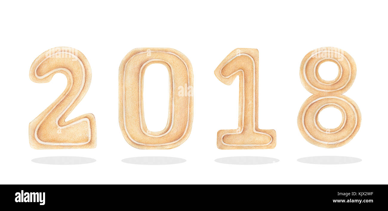 Bleistift Abbildung Ingwer watercolored Brot 2018 Frohes neues Jahr ...