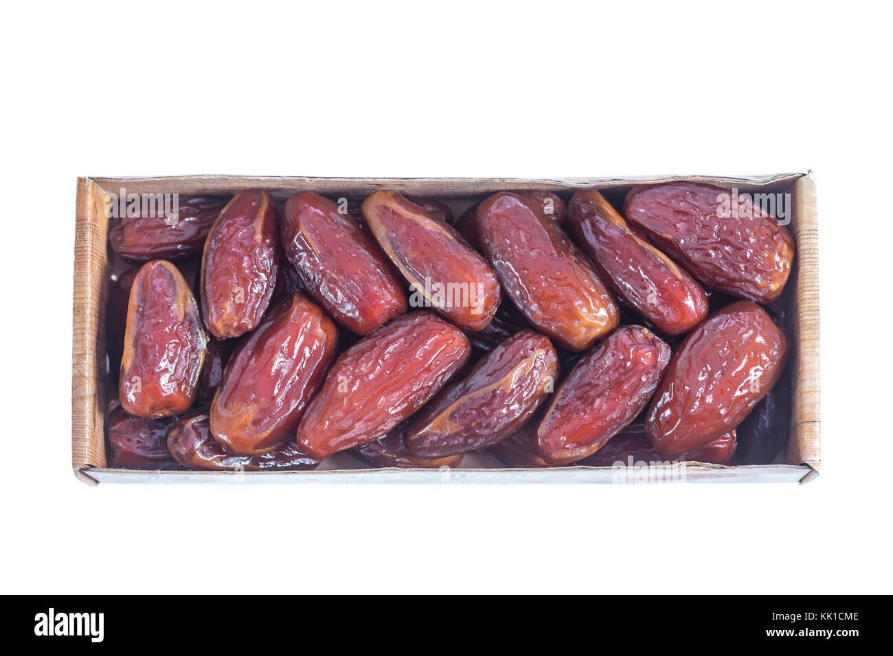 Tunesische dactylifera Getrocknete exotische Früchte verpackt auf weißem Hintergrund Datum palm getrocknete Stockbild