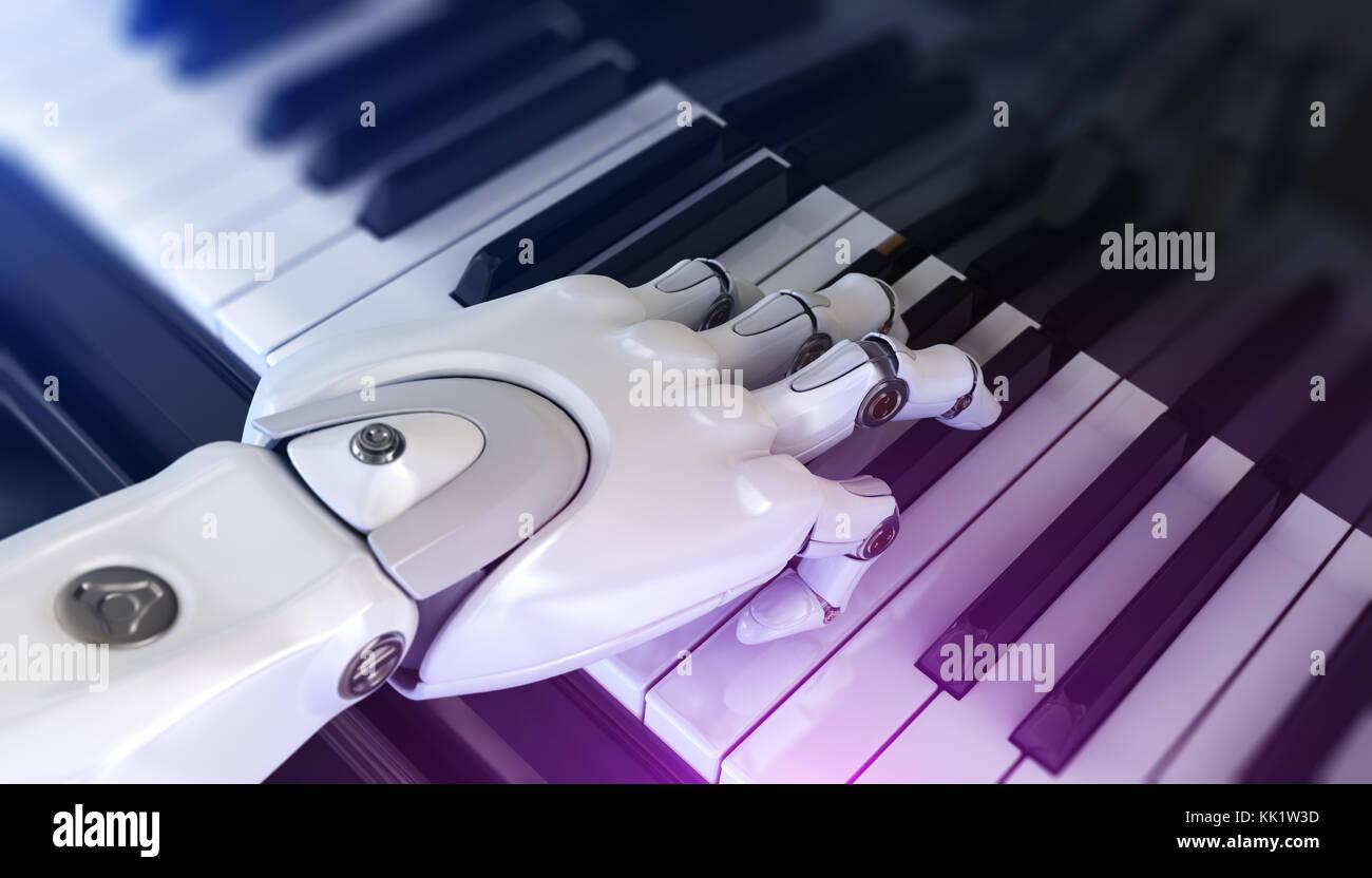 Roboter spielt Klavier. 3D-Darstellung Stockbild