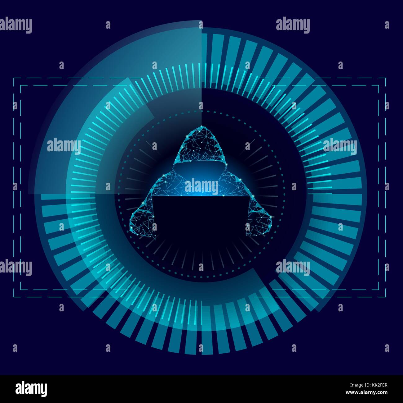 Internet Security Cyber Attack Vermeiden Business Konzept Low Poly. anonymer Hacker am Laptop blau Finanzen Gefahr. Stockbild