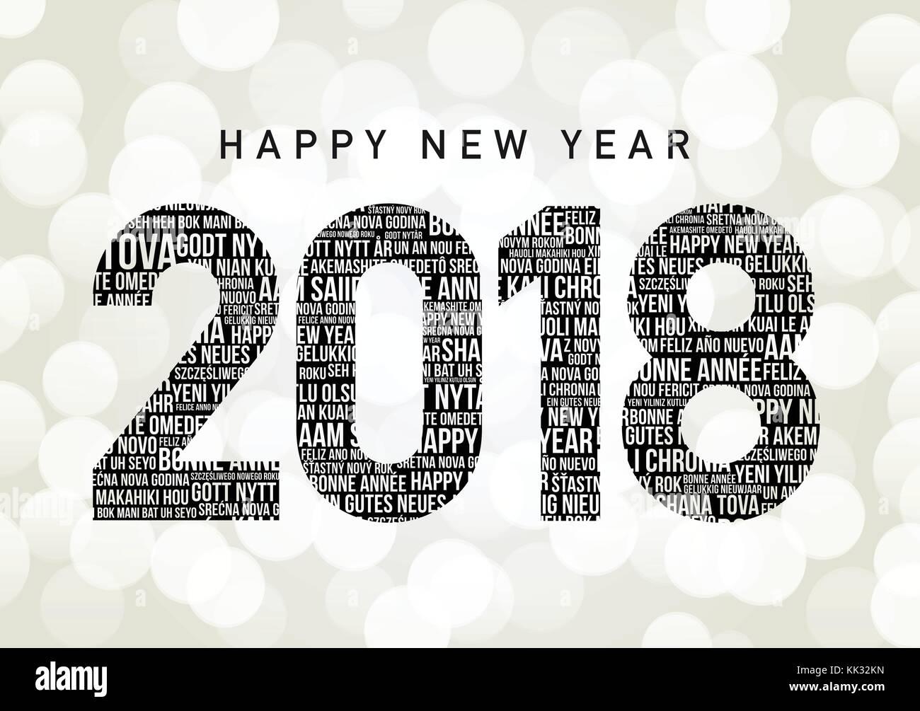 Frohe Weihnachten Und Ein Glückliches Neues Jahr In Allen Sprachen.Frohes Neues Jahr 2018 Vektor Vektoren Stockfotos Frohes Neues