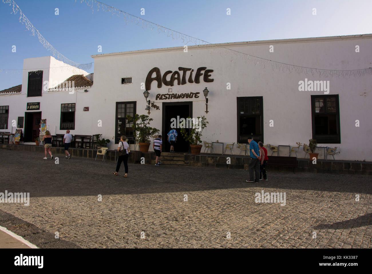 Acatife restaurant Hauptplatz in Teguise auf Lanzarote auf den Kanarischen Inseln Stockbild