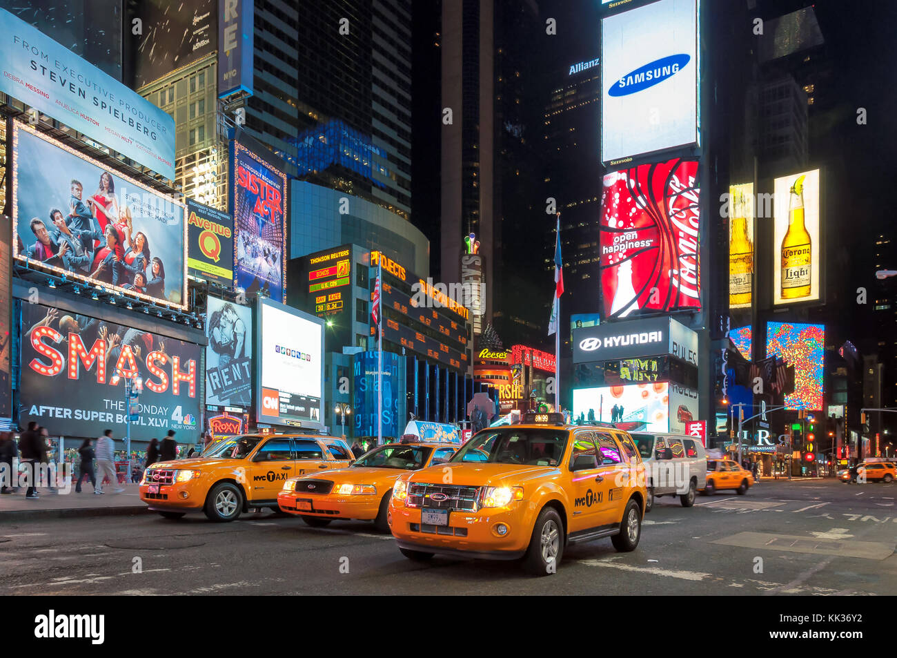 Verkehr in Times Square, New York City Stockbild