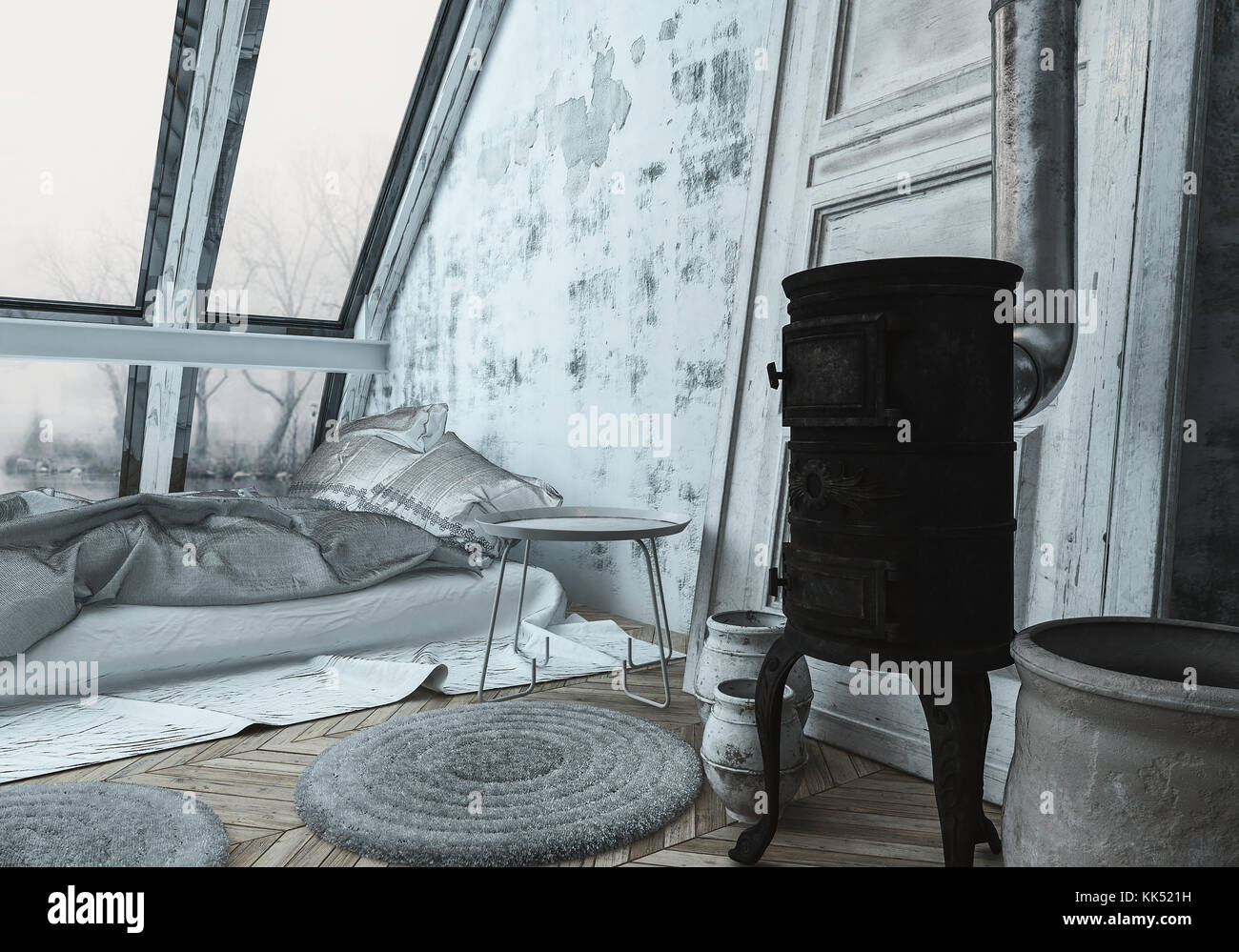 Gemütlich im skandinavischen Stil Schlafzimmer mit einem Holzofen ...