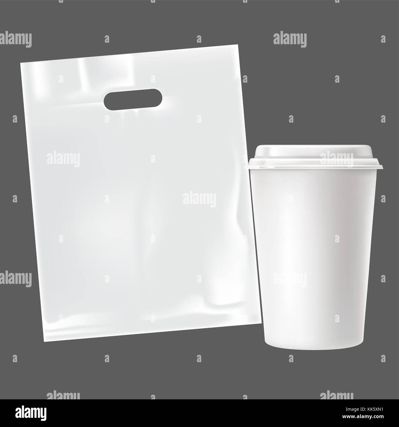 Vektor realistische leeres Papier Kaffeetasse und Paper bag Set auf ...