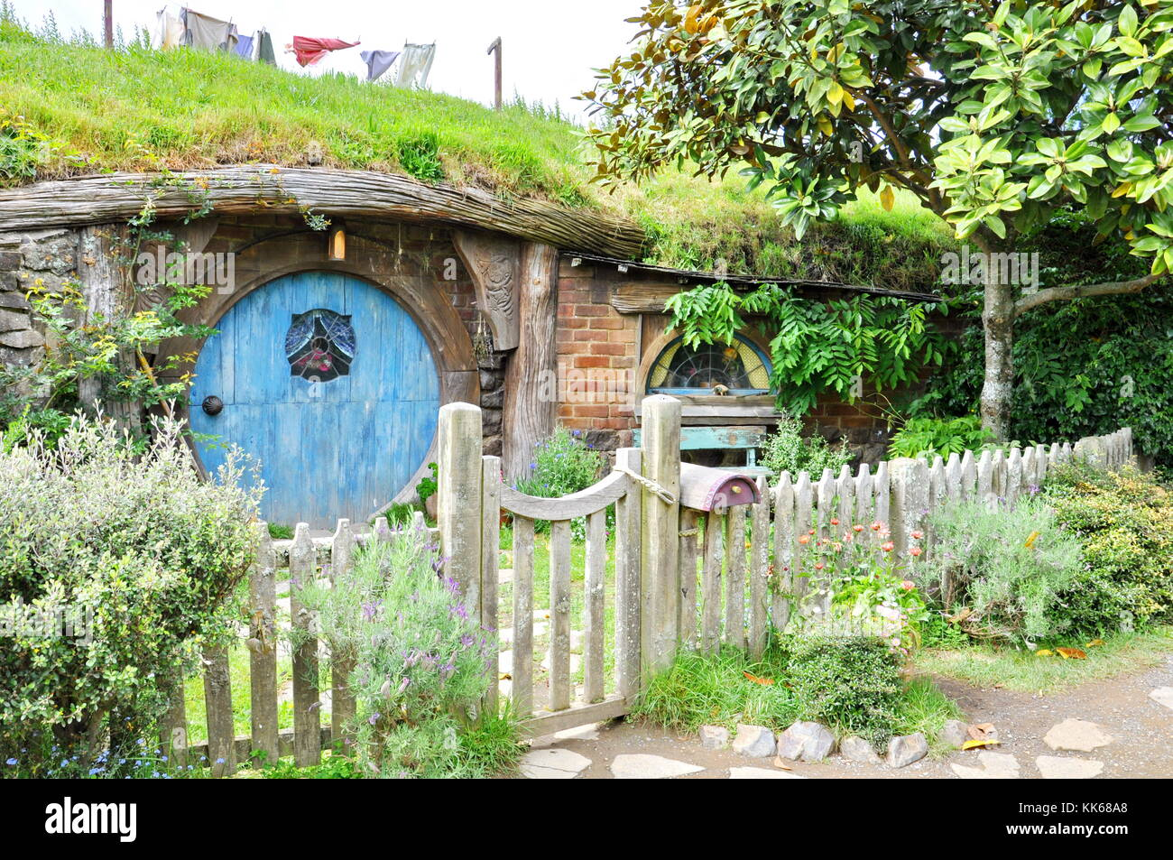 Matamata Neuseeland November 2016 Hobbit Haus Mit Blauen Tür An