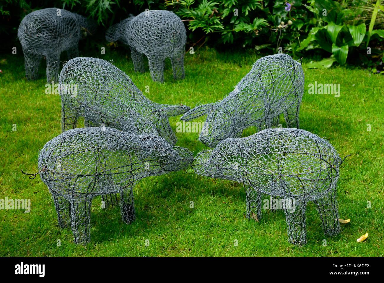 Garten, Skulptur, Kunst, Installation, Schwein, Schweine, Tiere, Kabel, Rahmen, Form, Gliederung, Gärten, Gartenarbeit, Stockfoto