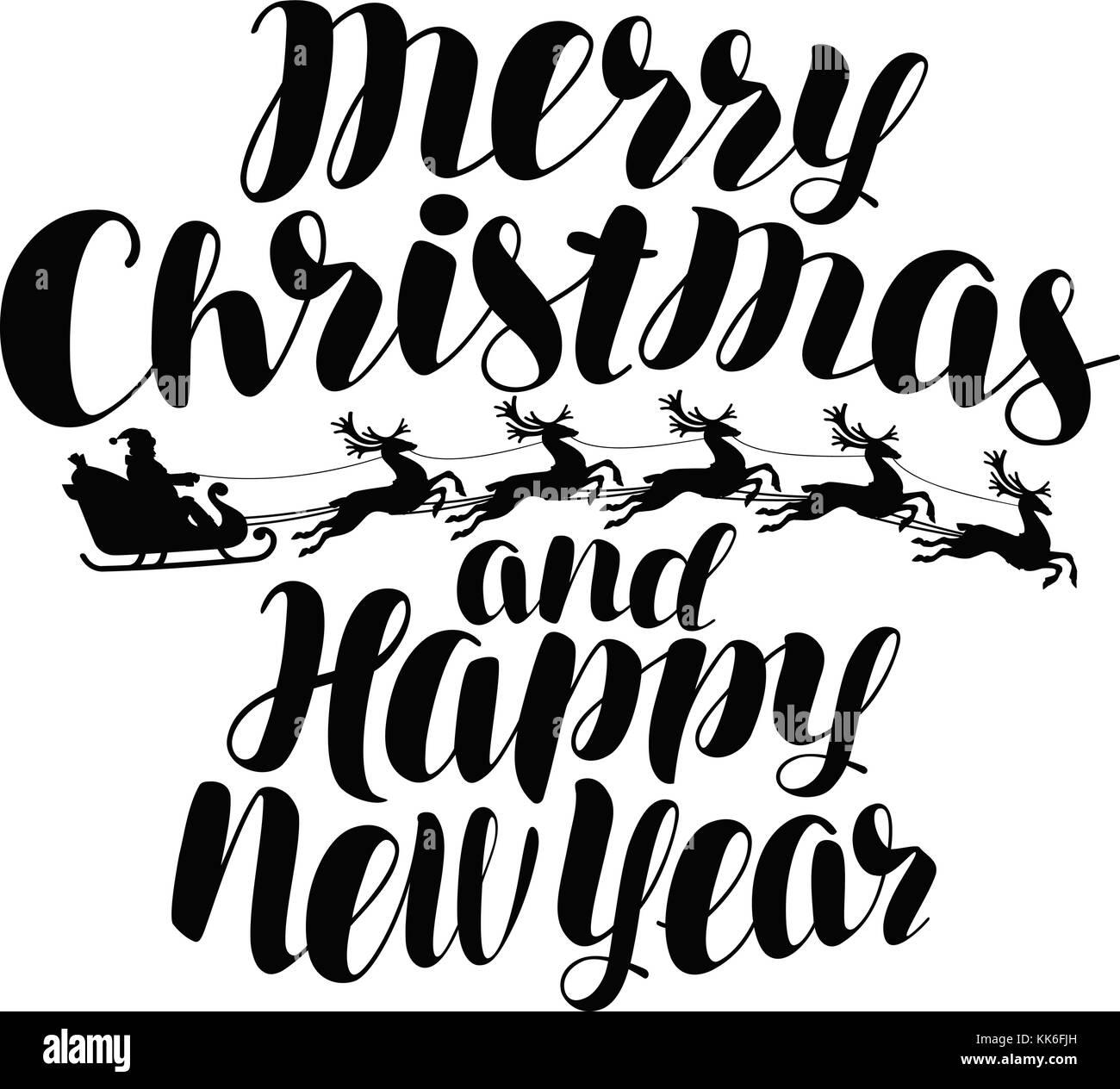 Frohe Weihnachten und guten Rutsch ins neue Jahr. handgeschriebene ...