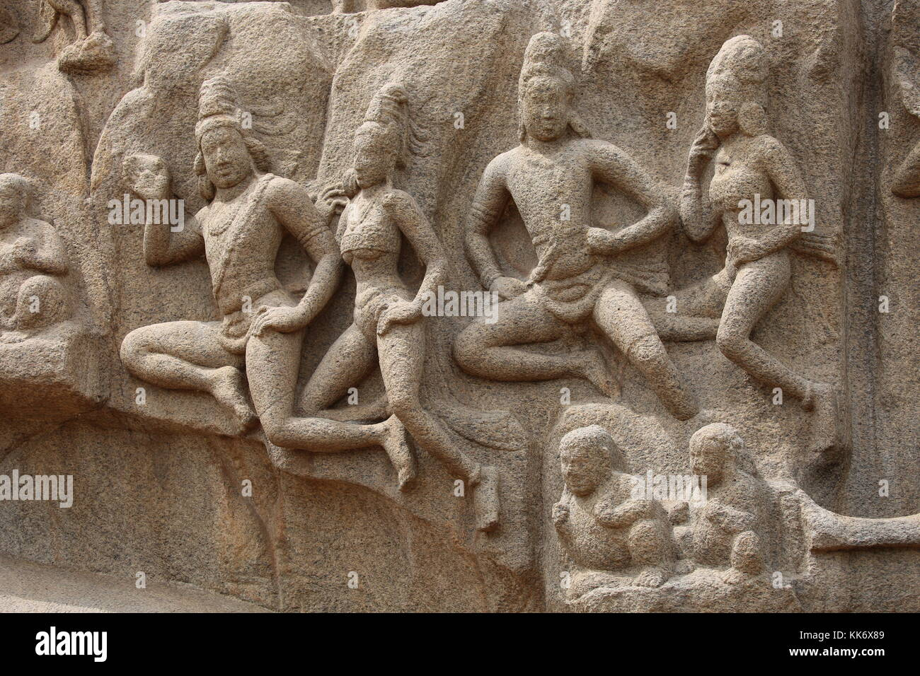 Arjunas Buße in Mahabalipuram, mamallapuram, Tamil Nadu, Indien, Steinornamente mit Elefanten Stockbild
