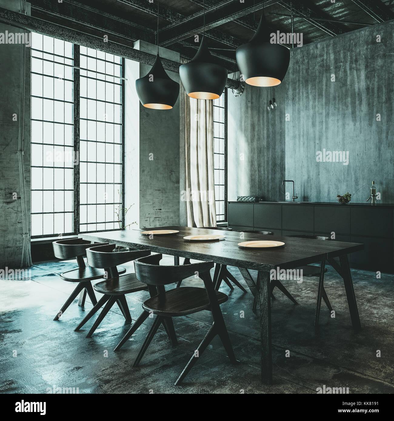 Die moderne industrielle Dachbodenumwandlung Essbereich mit Tisch ...