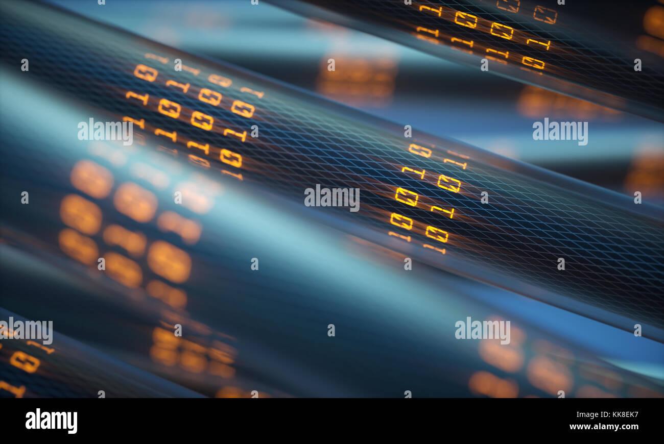 3D-Darstellung. Konzept Bild der Kabel und Verbindungen für den Datentransfer in der digitalen Welt. Stockbild