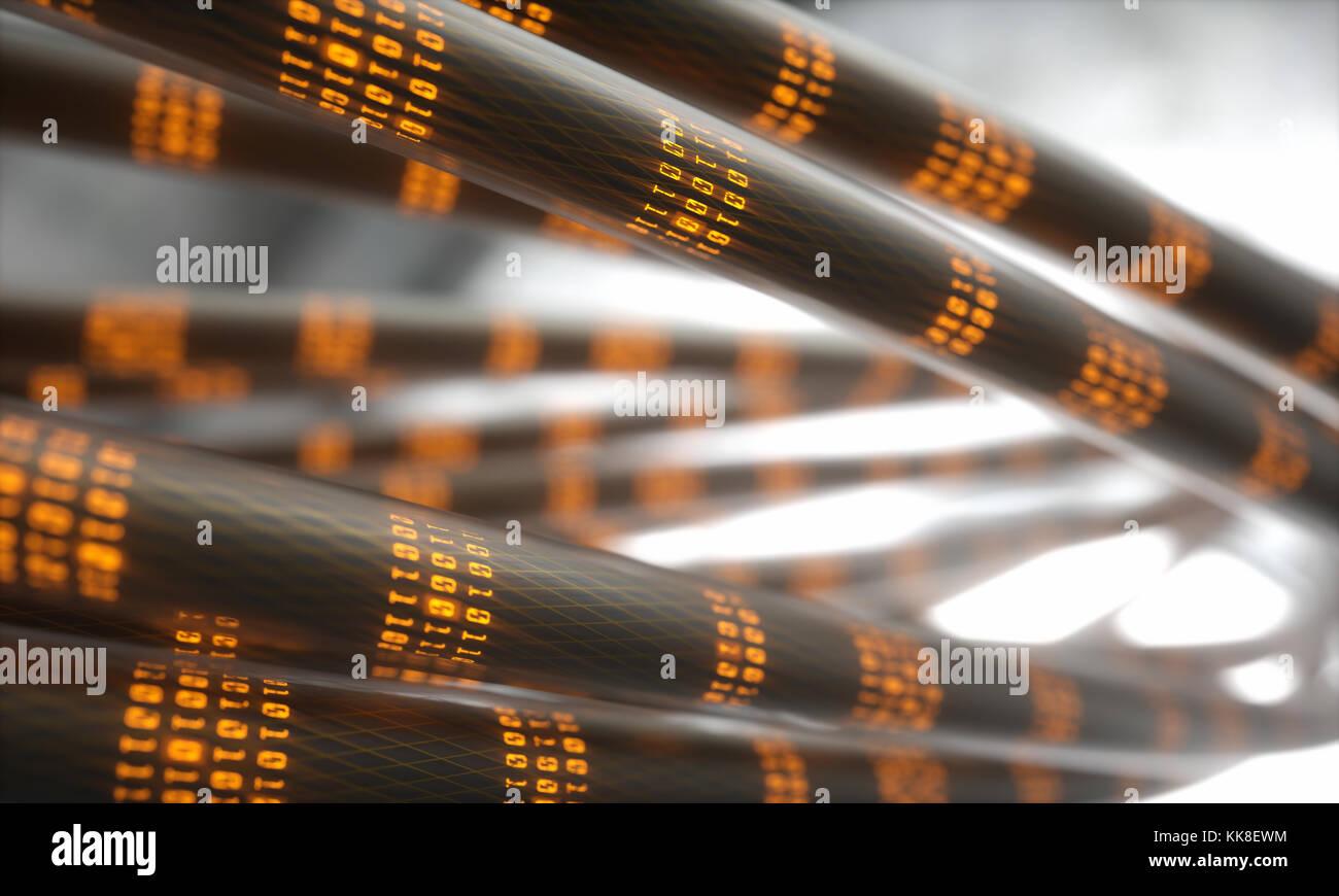 3D-Darstellung. Konzept Bild der Kabel und Verbindungen für den Datentransfer in der digitalen Welt. Stockfoto