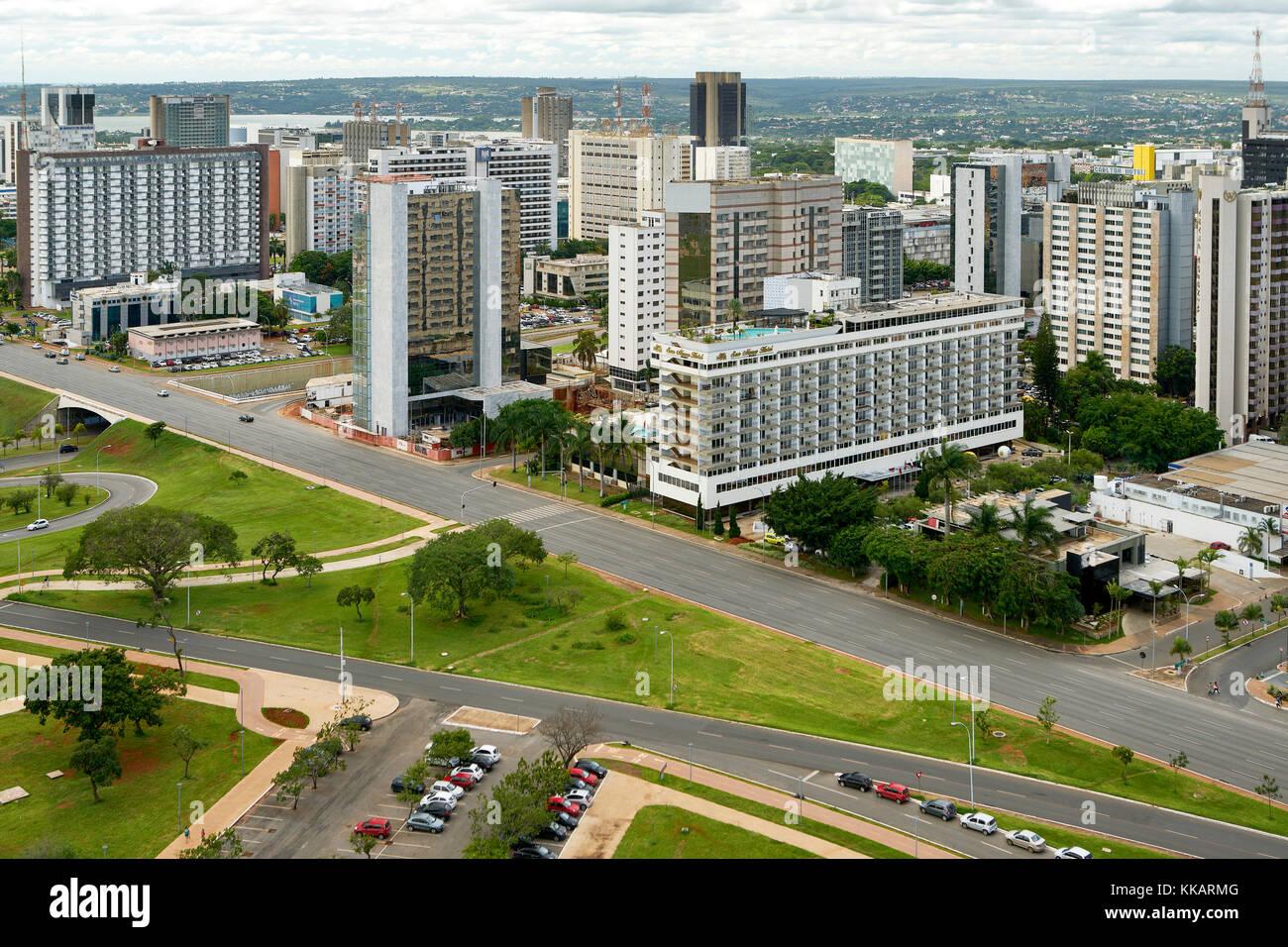 Blick auf das Hotel Sektor Süd in Brasilia, der Hauptstadt Brasiliens und Sitz der Regierung des Federal District, Stockbild