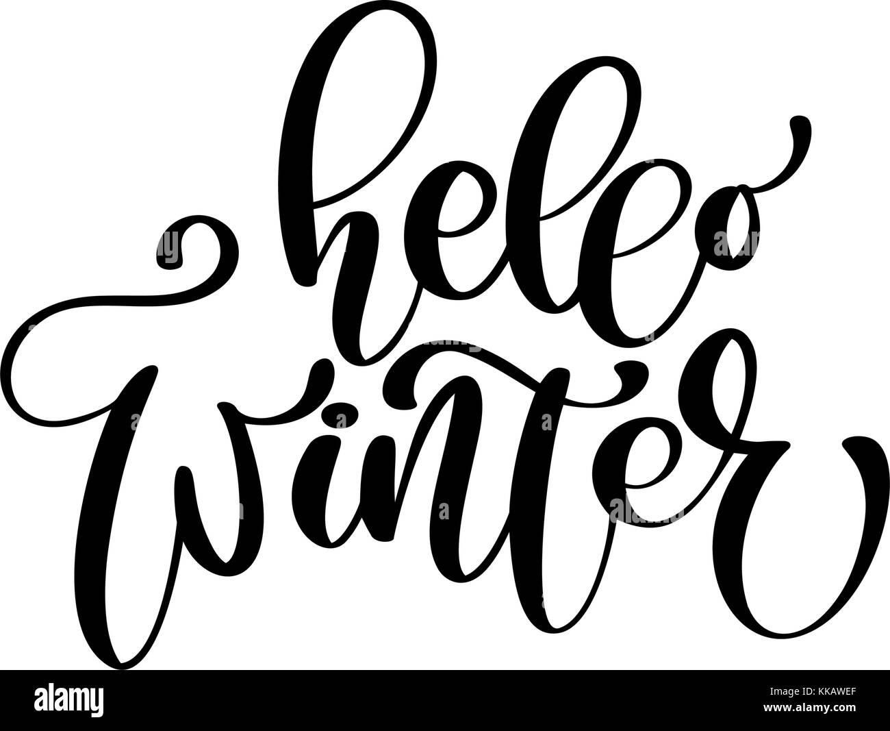 Kalligraphie Hallo Winter frohe Weihnachten Karte mit. Vorlage für ...