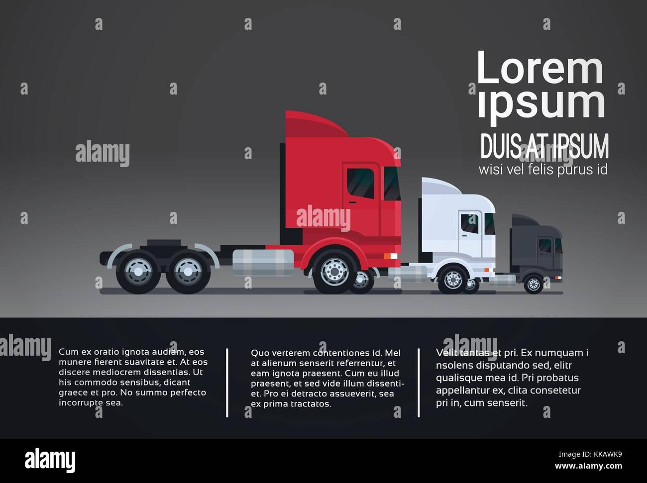 Satz von infografik Elemente mit halb LKW-Anhänger Vorlage banner ...